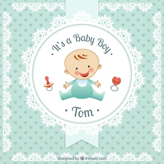 Baby boy card in doily style