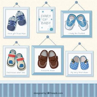 Baby boy shoes pictures in frames