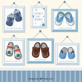 フレーム内の赤ちゃんの男の子の靴の写真