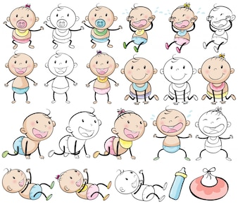 Baby boys and girls in different posts illustration