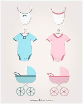 Baby clothes, bibs and carriages in pink and blue