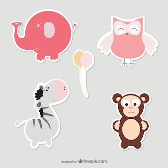 Baby elephant, owl, zebra and monkey