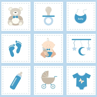Baby icon set for boy