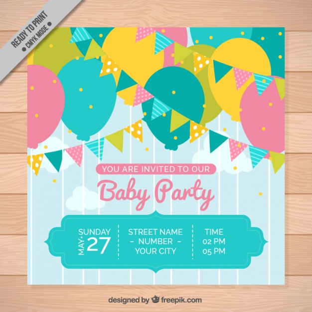Baby party invitation with colorful garlands and balloons