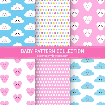 Baby patterns collection with hearts and clouds
