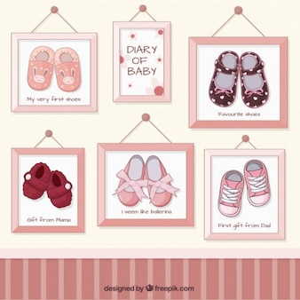 Baby shoes pictures in frames