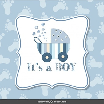 Baby shower card boy with footprint background