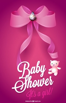 Baby shower card for a girl with pink ribbon