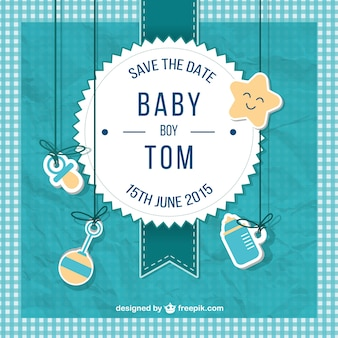 Baby shower card for boy in scrapbook style