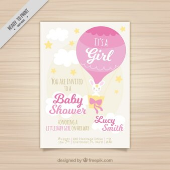 Baby shower card with a balloon