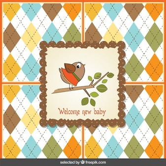 Baby shower card with a cute bird on  a branch