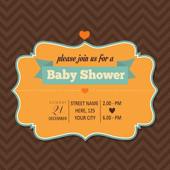 Baby shower card with a frame