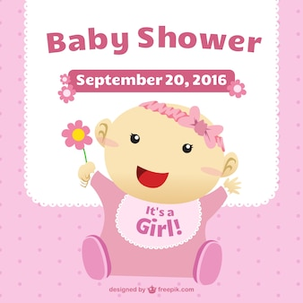 Baby shower card with a girl illustration