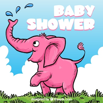 Baby shower card with a hand drawn pink elephant