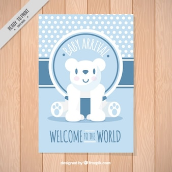 Baby shower card with a lovely bear