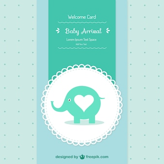 Baby shower card with an elephant
