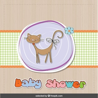 Baby shower card with cat and flower