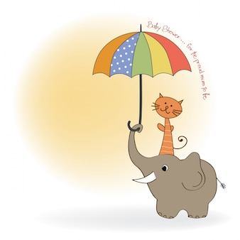 Baby shower card with funny elephant and little cat under umbrella