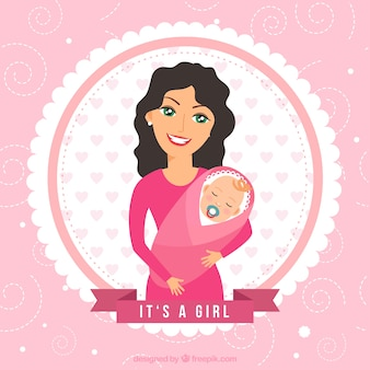Baby shower card with mother and baby