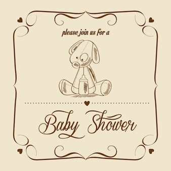 Baby shower card with retro toy