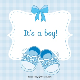 Baby shower card with small shoes