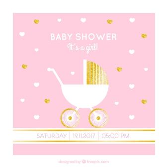 Baby shower card with stroller and golden details