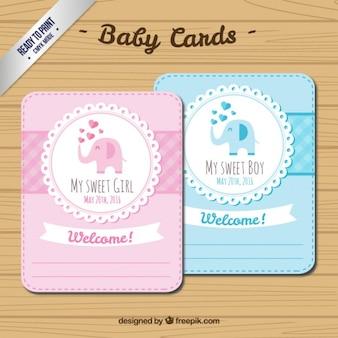 Baby shower elephant gender cards