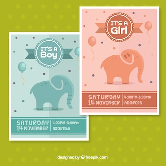 Baby shower greeting cards with elephants