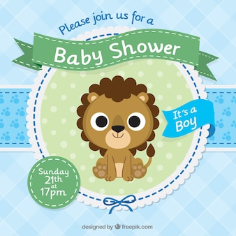 Baby shower invitation template with a cute lion