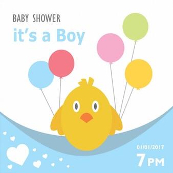 Baby shower invitation with a chicken design
