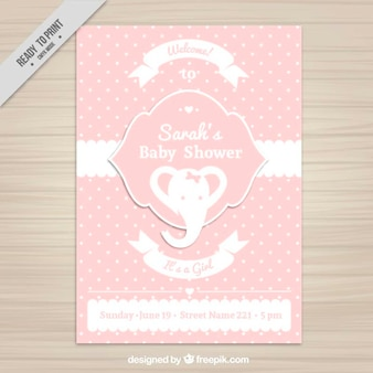 Baby shower invitation with a pink elephant