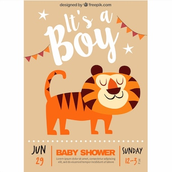 Baby shower invitation with a smiling tiger