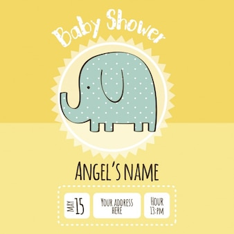 Baby shower invitation with an elephant drawing