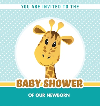 Baby shower invitation with cute giraffe