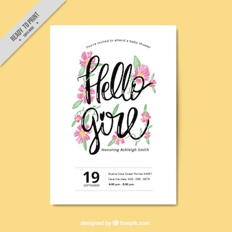 Baby shower invitation with watercolor flowers
