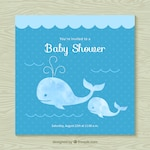 Baby shower invitation with whales