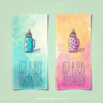 Baby shower invitations with feeding bottles