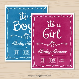 Baby shower invitations with hand-drawn frames