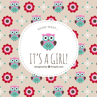 Baby shower label on owl pattern