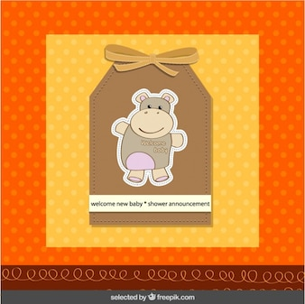 Baby shower label with hippo