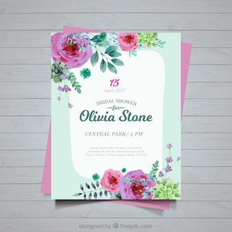 Bachelorette invitation of flowers painted with watercolor