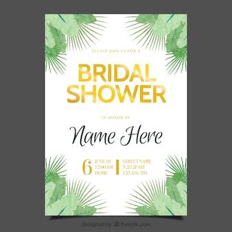 Bachelorette invitation template with green vegetation