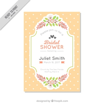 Bachelorette invitation template with polka dots and flowers