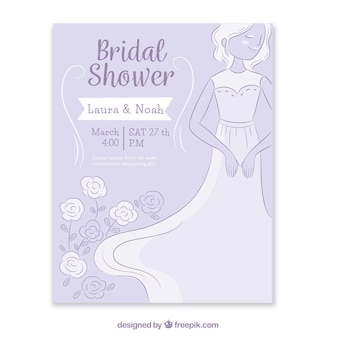 Bachelorette invitation with bride and floral decoration