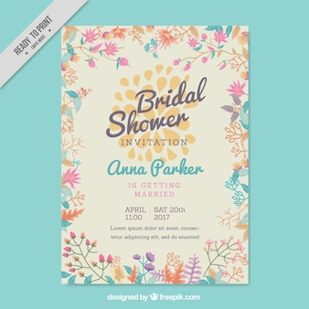 Bachelorette invitation with colored flowers in flat design