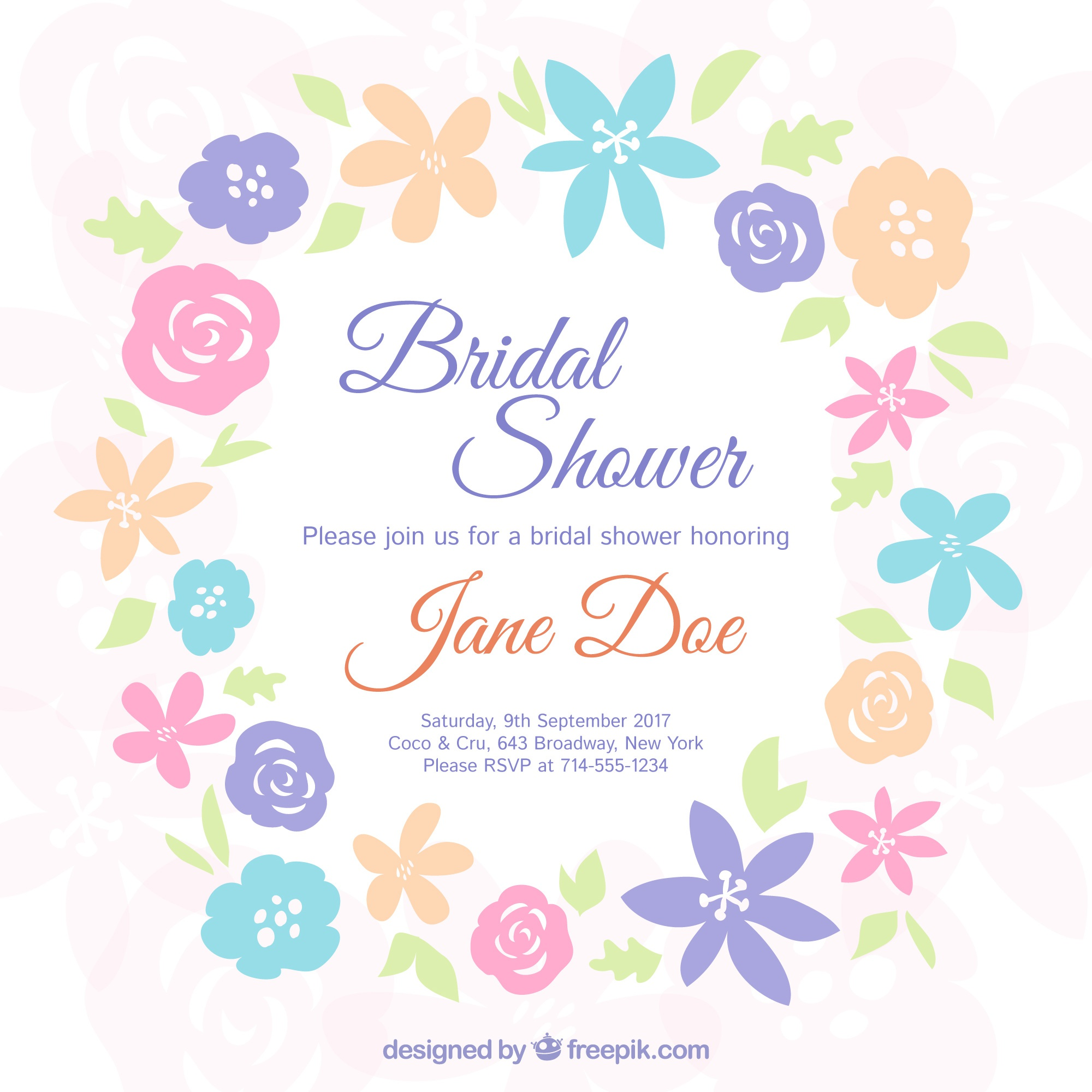 Bachelorette invitation with colored flowers