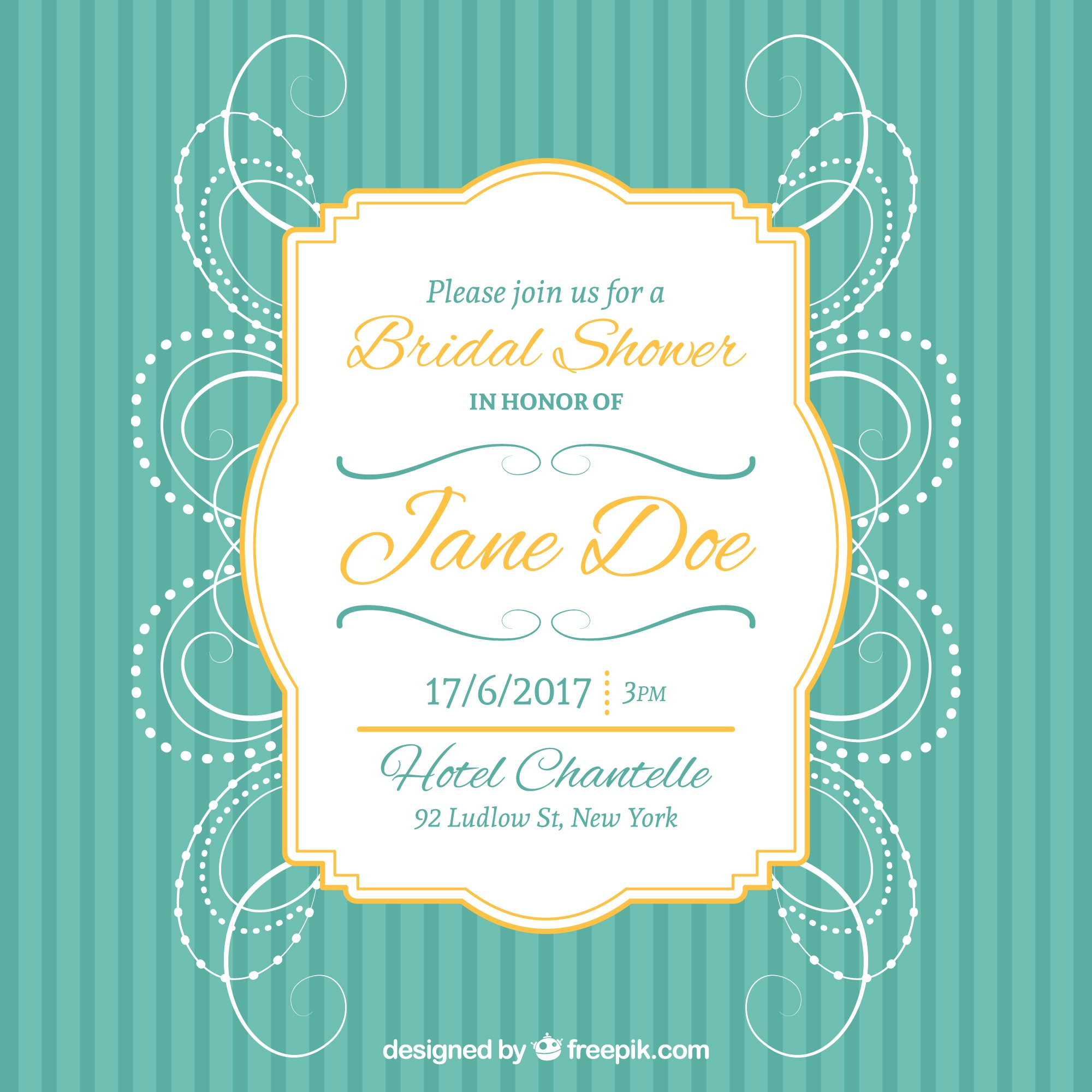 Bachelorette invitation with golden frame and abstract decoration