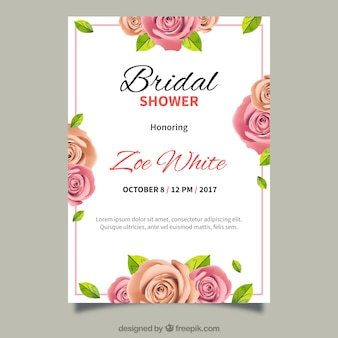 Bachelorette invitation with realistic flowers