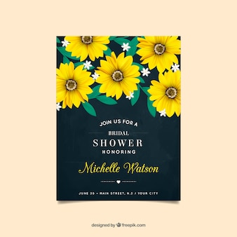 Bachelorette invitation with yellow flowers in realistic design