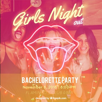 Bachelorette party background with neon mouth